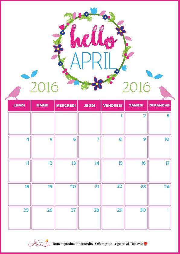 calendrier DIY avril 2016 Printemps