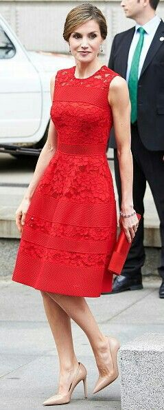Queen Letizia - red Carolina Herrera dress - nude Prada heels