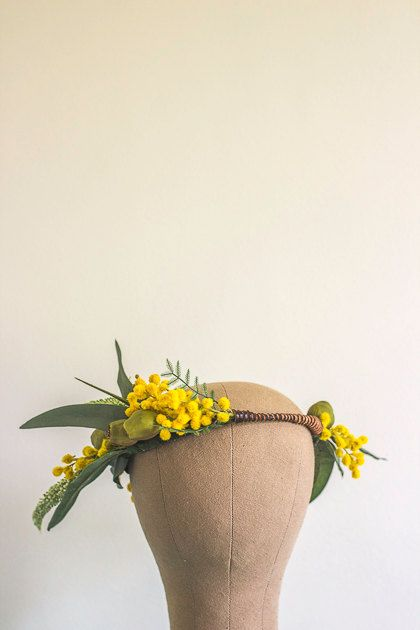 Unique Australian Native Rustic Flower Crown Leather Detail Eucalyptus Wattle Gumnut Green Gold Yellow Unique Hipster Halo