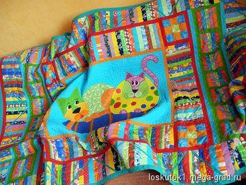 Пэчворк одеяло детское с аппликациями КОТ И КОШКА, автор Наталья Волощик.