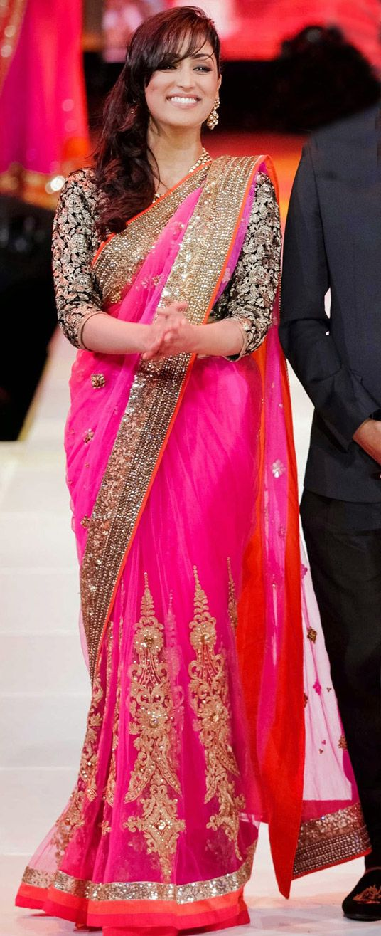 USD 73.26 Yami Gautam Deep Pink Round Net Bollywood Saree 44228