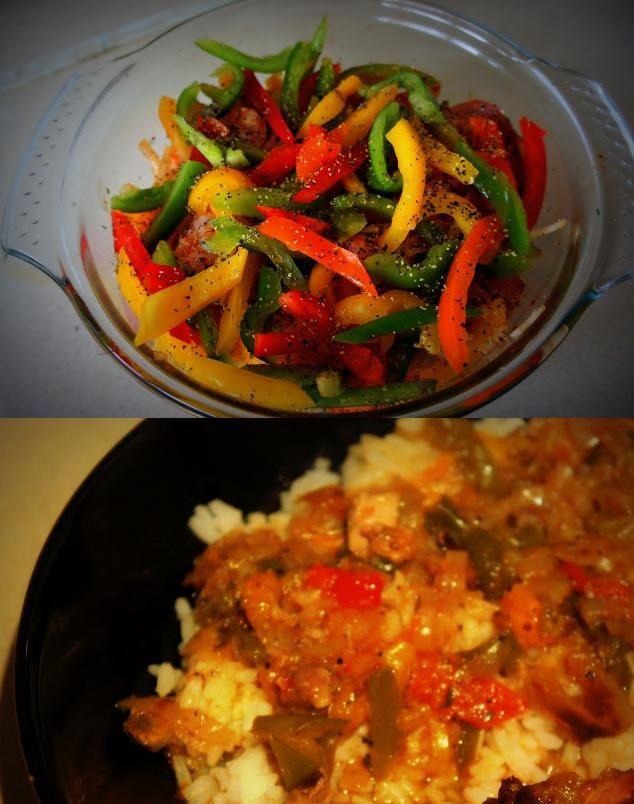 Pieczony  kurczak  z warzywami, idealny  do  ryżu lub ziemniaków :) Najpierw musimy kurczaka umyć, dobrze przyprawić (można zostawić na noc w lodówce dla lepszego smaku). Warzywa umyć, obrać i  pokroić w dość spore kawałki. Wszystko  razem włożyć do  naczynia żaroodpornego, zalać bulionem, dodać troszkę przypraw. Musimy piec w piekarniku  w temperaturze około 180 stopni przez godzinkę na ostatnie 10  minut  otworzyć naczynie. W razie potrzeby  zagęścić sos wodą z odrobiną mąki i gotowe :D