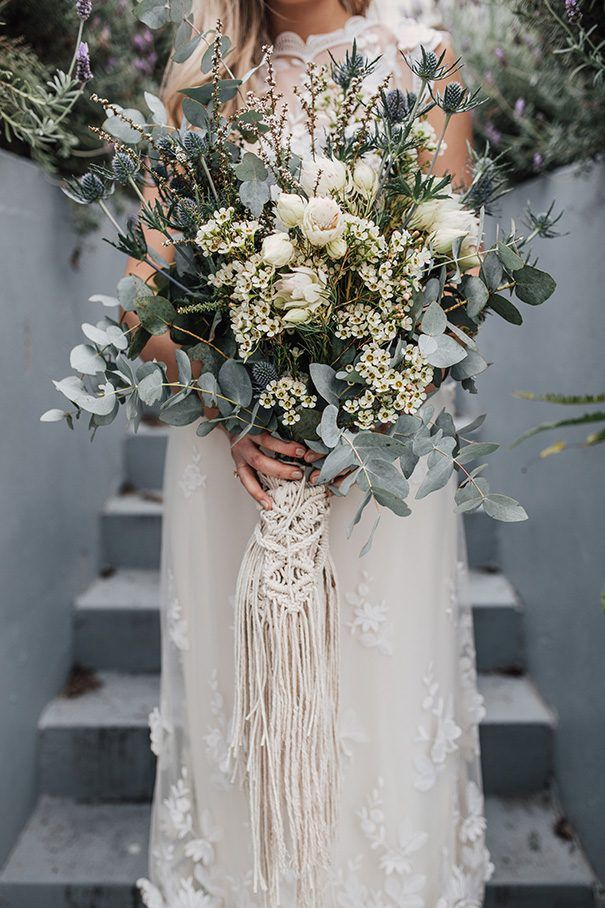 TEGAN + BRADLEY // #wedding #bride #dress #gown #vintage #reused #recycled #flowers #florals #bouquet #rustic #bohemian