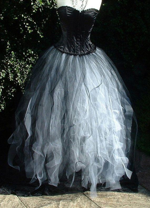 tutu skirt white black adult  tulle long goth burlesque wedding prom gypsy cosplay bride  US size 14 16