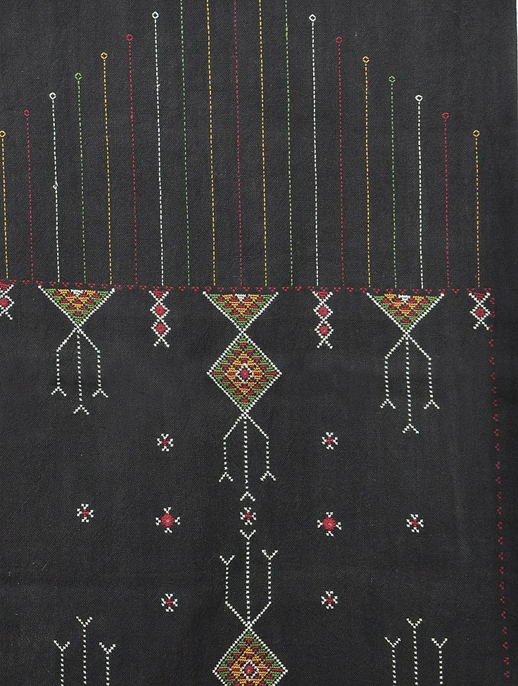 Black Jat Embroidery Cotton Table Runner - 52in x 16in