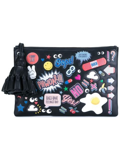 ANYA HINDMARCH Leather Sticker Clutch Bag. #anyahindmarch #bag