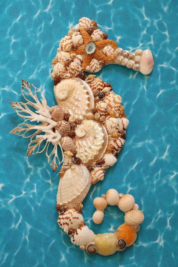 Seahorse Wall Decor Seahorse Shell Art Beach by TheSleepySeahorse