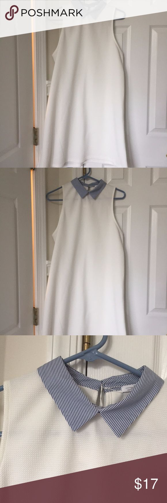 Zara White Collared Dress Preppy Tennis Cute BNWT Zara dress in a pique material with a sweet blue striped collar. A-line / trapeze silhouette,  size L. Zara Dresses Mini