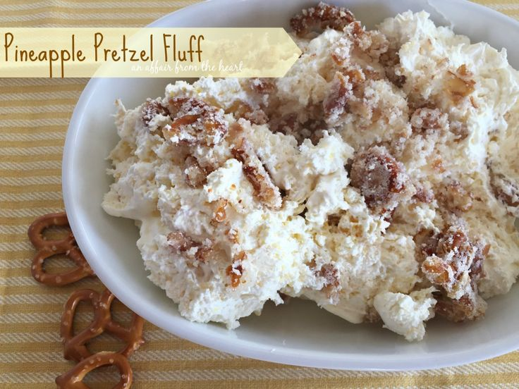 This Pineapple Pretzel Fluff can be served as a dessert or as a sweet side or salad. Serves quite a few, great for events. It's like a yummy deconstructed Cheesecake!