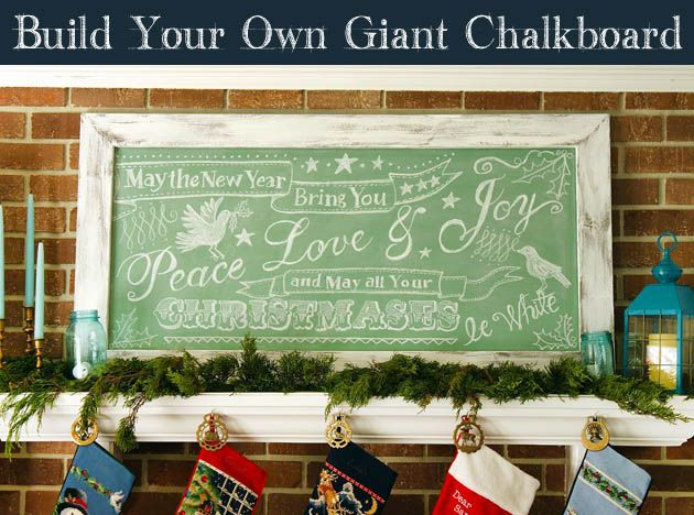Build a Giant Vintage Chalkboard - choose your own color! Also, easy way to transfer lettering patterns for chalking!