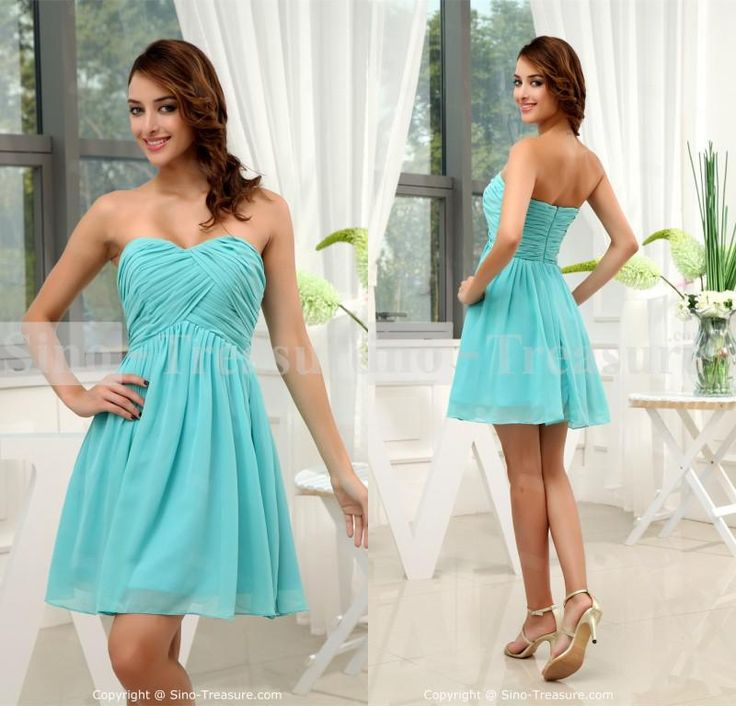 Whole Modest 2017 Strapless Sweetheart Neck Chiffon Ruched Maid Of Honor Short Mini Beaded Turquoise