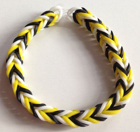 Yellow Black And White Fishtail Rubber Band By
