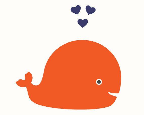 Walvis kwekerij afdrukken-oranje en marine door cocoandmintstudio