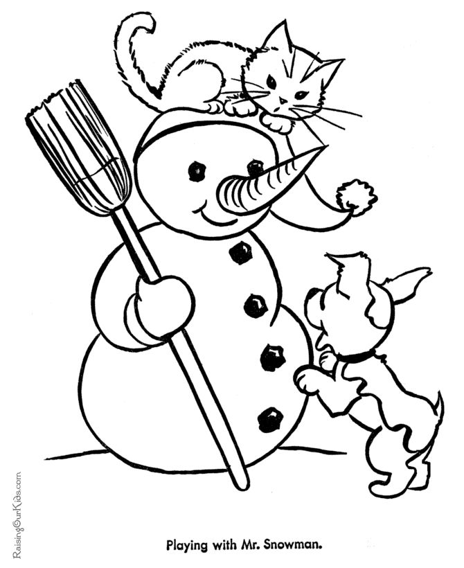 Cute Christmas Cat Coloring Pages