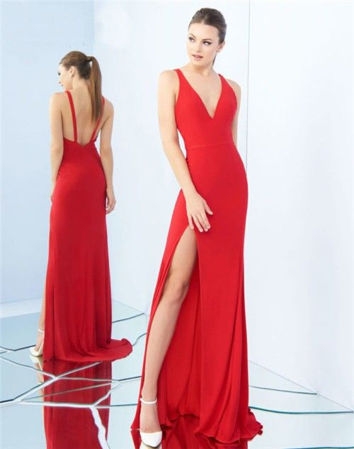 2417e958af48 Sexy V Neck Low Back Side Slit Red Jersey Evening Prom Dress With  Straps#sideslit#redpromdress#party