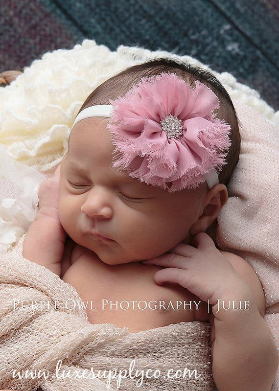 Baby Shower Headband Kit Pink Grey Yellow White by LuxeSupplyCo