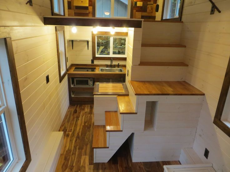 a nice view of the stairs in the robins nest tiny house - Tiny Dwellings