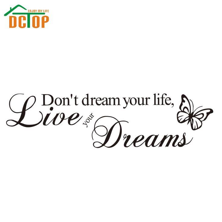 DCTOP Ne pas Rêver Sa Vie, Vivre Vos Rêves Inspirée de Décor Citation Art Decal
