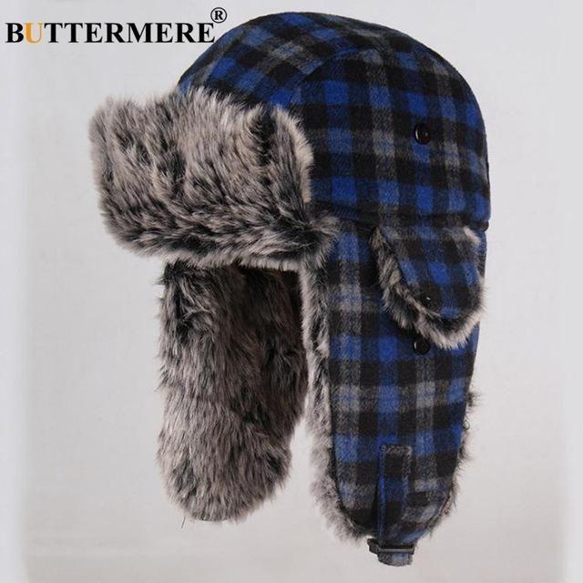 L Brown Real Sheepskin Tan Rabbit Fur Trooper Bombardier Aviator Hat