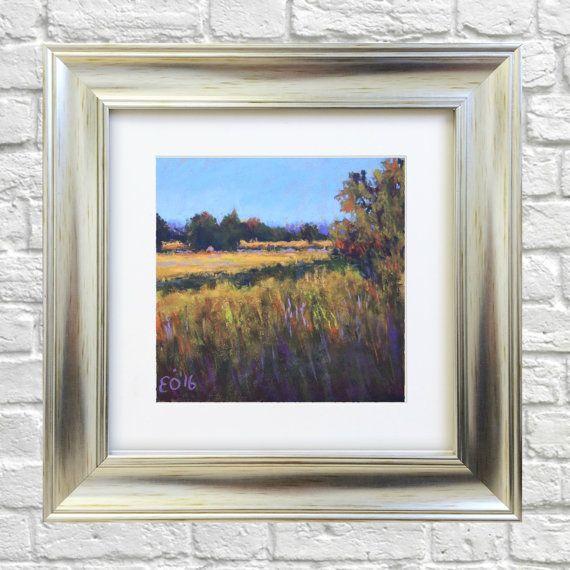 Original Pastel Painting Summer Evening by Bluishpurpletrees