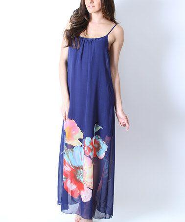 Loving this Blue Floral Chiffon Sleeveless Shift Maxi Dress - Women on #zulily! #zulilyfinds