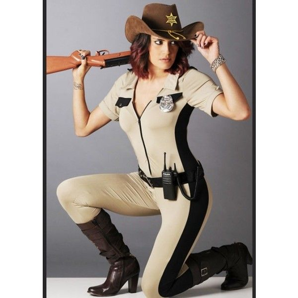 Womens Walking Dead Style Sheriff Costume ($69) ❤ liked on Polyvore featuring costumes, costume, halloween costume, zombie, ladies halloween costumes, adult zombie costume, party halloween costumes, sheriff costume and adult costume