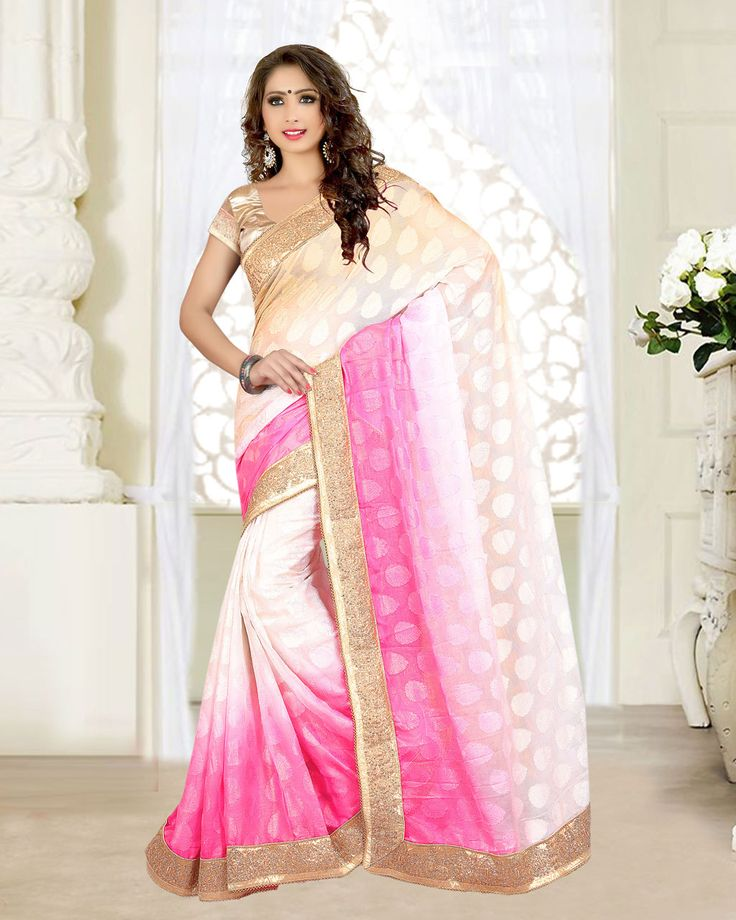 Off White Georgette Jacquard Wedding Saree 63533  #WeddingSarees #OnlineShopping