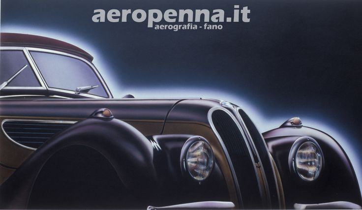 Airbrush illustration BMW, aerografia, 50x70 cm.