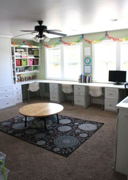 Perfect homework room--I want to do this to our gameroom (which noone ever plays games in anyway).