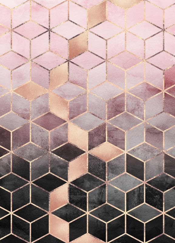 Pink Grey Gradient Cubes as Canvas Print | JUNIQE