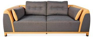 """Soi 43"""" Mixed Leather Sofa, Gray/Natural Bold, modern, and extraordinarily crafted, this plush sofa will impress guests with its impeccable construction and its distinctly modern design. Textured upholstery pairs beautifully with supple, natural leather."""