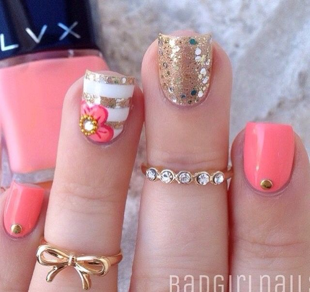 Gold and pink.