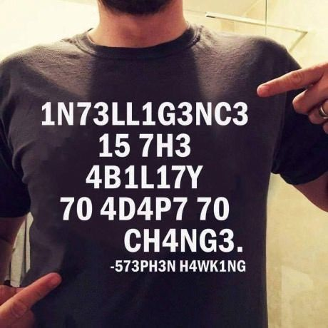 Intelligence is the ability to adapt to change. -Stephen Hawking