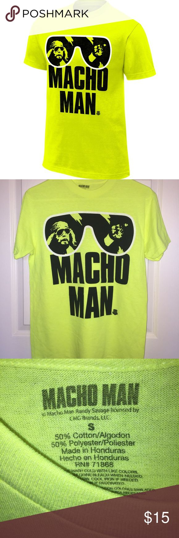 """Macho Man"" Randy Savage WWE Retro Tee - Small Greatest of all time? Greatest wrestling tee ever? Hard to argue either, so scoop this iconic ""Macho Man"" Randy Savage tee while you can!   * New * Never worn * Never came with tags * From the WWE website * Bright (almost a fluorescent yellow) * 50% cotton * 50% polyester  Take a look at everything I have for sale!   I am always adding new items!  Feel free to make an offer.   I discount purchases that are bundled!  Ooooohhh yeaaaaa! Thank you…"