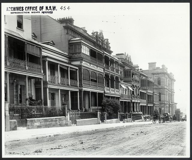 "Terrace houses on Macquarie Street, Sydney (NSW) by State Records NSW, via Flickr - Apparently, one of these still stands today - ""History House"""
