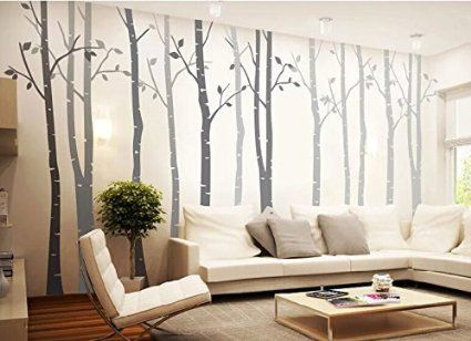 4 Big Birch Tree Wall Decal Nursery Removable Vinyl Tree Wall Sticker For Living  Room Wall