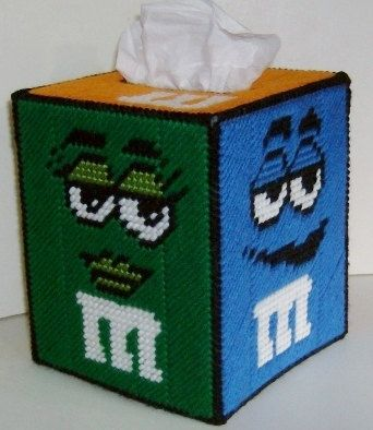 M & M's Boutique Size Tissue Box Cover by NiftyStitches4U on Etsy