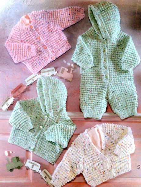 d319cb49d25cf PDF Digital Vintage Knitting Pattern Baby Children s Hooded All-In-One Suit  Cardigans Jacket To fit chest sizes 16 to 26 £1