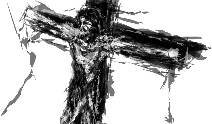 """I've made it some time ago with a mouse and program called Alchemy (which has no """"undo"""" function).  You must see it FULL VIEW to notice how geometrical forms create SHATTERED face.  #crucified #christ #jezus #cross #shattered #shatter #experimental #drawing #art"""