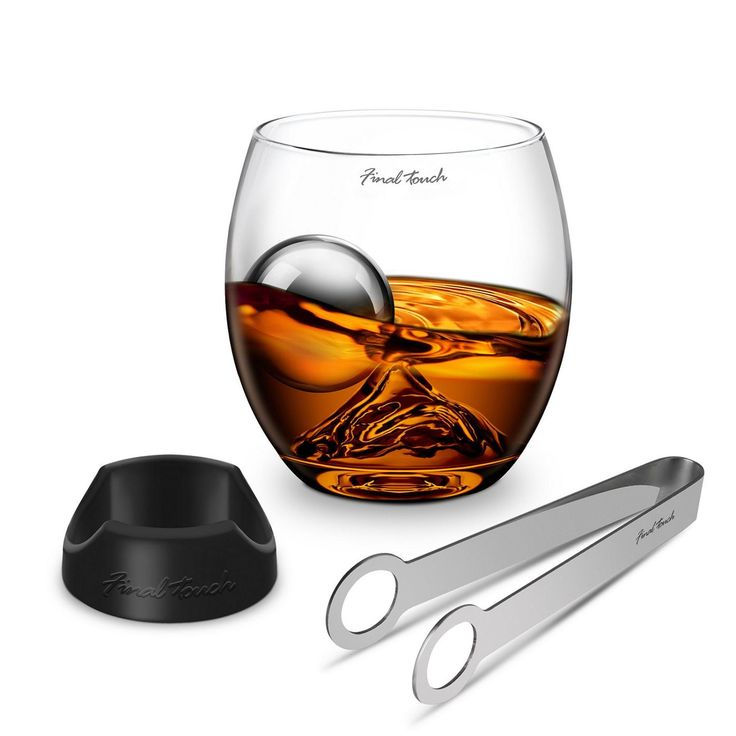 On The Rock Deluxe Set by Final Touch includes one On the Rock glass, stainless steel chilling ball, tongs and base for the silicone ball!