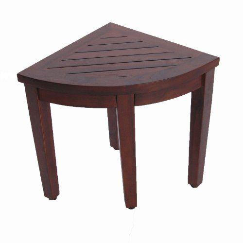 Oasis Bathroom Teak Corner Shower Seat Stool Chair Bench Sitting Storage Or Foot Rest