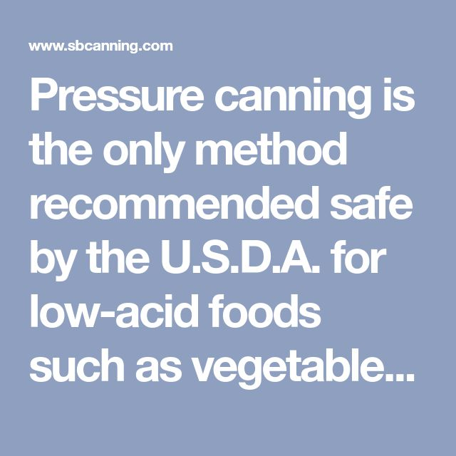List Of Low Acid Foods For Canning