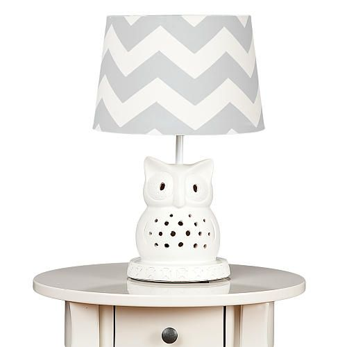 Living Textiles Owl Lamp with Grey ZigZag Shade