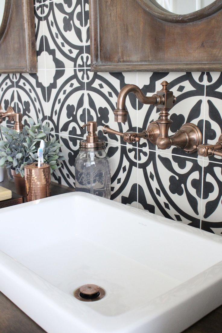 Master Bathroom Renovation Bathroom Remodeled Bathroom Bathroom Cement Tile Copper Accents