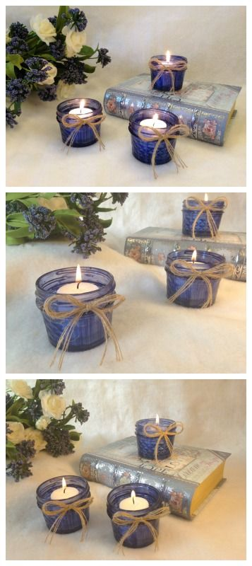 Who loves the look of recycled jars? Me! Me! These navy/dark blue candle holders have that rustic look with the added touch of burlap bows.  https://www.etsy.com/listing/255421095/navydark-blue-candle?ref=shop_home_active_6