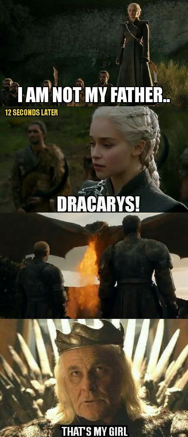 Dany and her father, Game of Thrones.