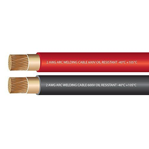 Cheap 2 Gauge Premium Extra Flexible Welding Cable 600 VOLT COMBO PACK - BLACK RED - 25 FEET OF EACH COLOR - EWCS Spec - Made in the USA! deals week