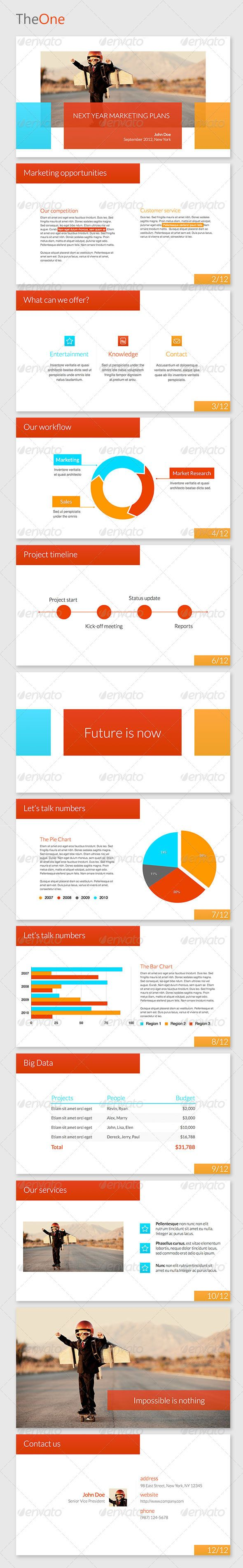 TheOne Keynote Template  #GraphicRiver           	 Clean, elegant and modern business presentation template for keynote. Now you can present your business case in a non conventional way and modify this template to your needs.  	 Fonts:  	 	 Helvetica – system font 		 Lato – download for free from:  Created: 9October12 PixelDimensions: 1920x1080 PresentationFilesIncluded: KeynoteKEY Tags: business #corporate #creative #keynote #marketing #modern #presentation #professional #sales #template