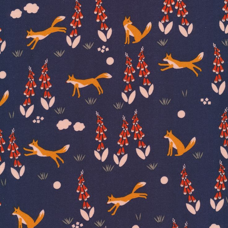 150712 Fox In the Foxgloves   Navy Quilter's Cotton from Foxglove by Aneela Hoey for Cloud9 Fabrics