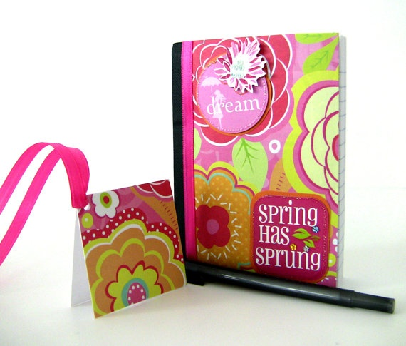 Small Notebook  Spring Has Sprung by UnexpectedTreasure on Etsy.